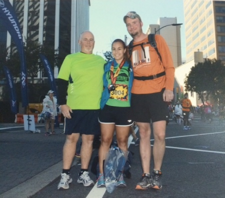 With Barry and Dad at the finish line of the Marine Corps Marathon