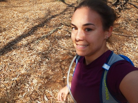 Trail running with my hydration vest