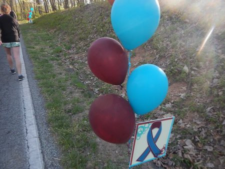 Balloons in remembrance of WDBJ7's Allison and Adam, who were tragically killed on live TV last August.