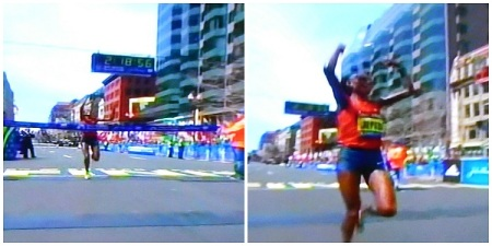 2014 Boston Marathon Finish Rit Jeptoo Winner