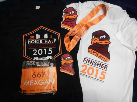 Good swag - long sleeve race shirt, finisher's shirt, medal, and race car magnet.