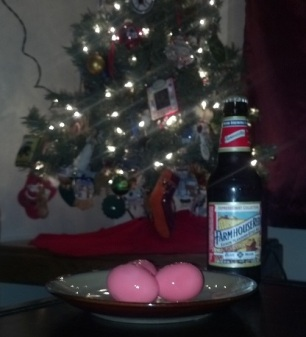pickled eggs and beer for Santa