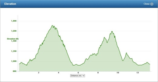 Blue Ridge Half Marathon elevation profile